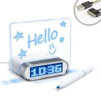 ENHANCE 4 Port USB 2.0 Desk Hub Glowing Memo Board Alarm Clock w/ Temperature Sensor for Apple iPhone 5 , 4S , 4 , 3GS / iPod Touch , Nano , Shuffle , Classic / Macbook , iMac & More - Includes 30 Pin USB Cable:Amazon:Cell Phones & Accessories