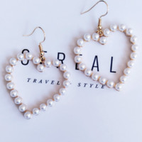 Soft heart-shaped love heart sweet pearl pearl earrings earrings ear hook F0300-1 Pearl