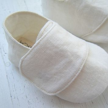 Organic Baby Shoes, Unisex, Ivory Hemp Linen, Natural Baby, Eco Fashion, Bobka Shoes by BobkaBaby