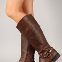 Mart-73 Buckle Round Toe Riding Knee High Boot
