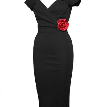 "Women's ""Mary Lou"" Off the Shoulder Wiggle Dress by Lucky 13 (Black)"