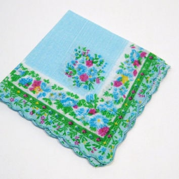 Vintage NEW Handkerchief, Green & Blue Flower Hankie