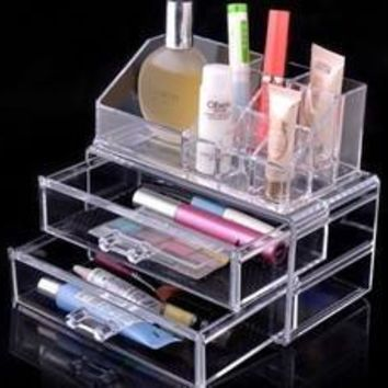 Acrylic Cosmetic Organizer Drawer Makeup Case Storage Insert Box (Color: White) [8424390535]
