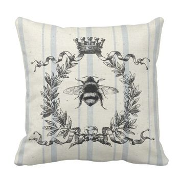 French Grain Sack Bee Throw Pillow