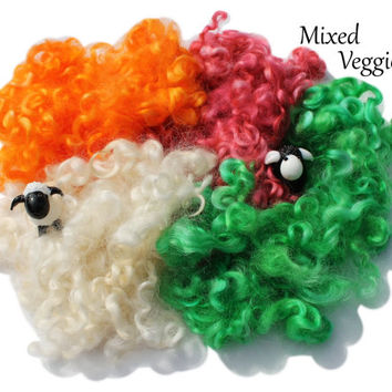 Wensleydale Border Leicester Locks - Hand Dyed - NY Grown - 2.1oz/64g - Spinning, Felting, Doll Hair - Mixed Veggies