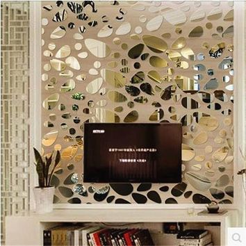 12pcs set 3d Diy wall sticker decoration mirror wall stickers for TV background home decor Modern Acrylic decoration wall art