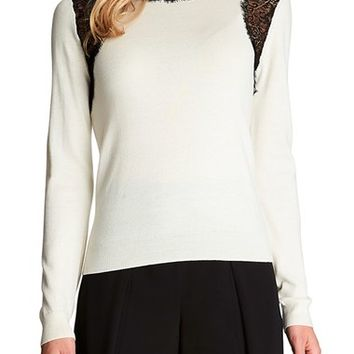 Women's CeCe by Cynthia Steffe Lace Shoulder Sweater,