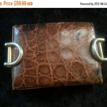 1940's 1950's Vanity Compact Distressed  Leather Alligator Mid Century Home Decor Mad Men Mod Hollywood Regency Rockabilly Accessories