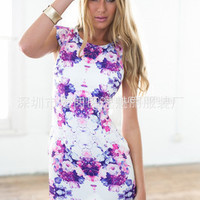 SIMPLE - Floral Sleeveless Casual Boho Dress b662