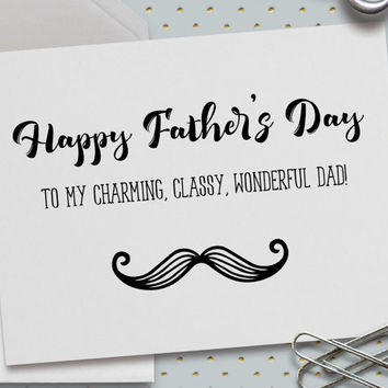 Happy Father's Day Card, Charming, Classy, Wonderful Dad, 5.5 x 4.25 Inch (A2), I Love Dad, Choose design options: Mustache, Car, or Glasses