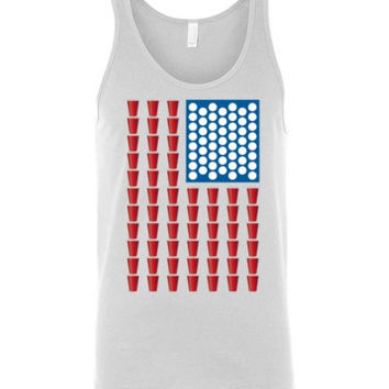 Beer Pong USA Flag Tank