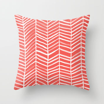 Coral Herringbone Throw Pillow by Cat Coquillette