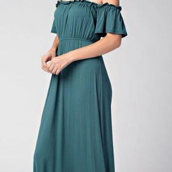The Very Thought Of You Teal Blue Off The Shoulder Maxi Dress