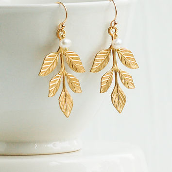 Gold Leaf  EARRINGS Pearl Woodland Wedding Romantic Bridesmaid Gift Autumn Wedding Fresh Water Pearls