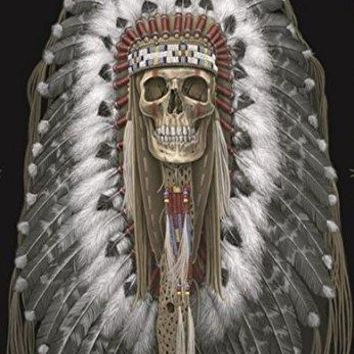 DGA Day of the Dead Native Indian Stretched Canvas Wood Framed Wall Art 12x16 Inches - Original American