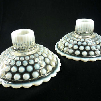 Pair of Moonstone Candle Holders Hocking Glass Opalescent Hobnail Depression Glass 1940s