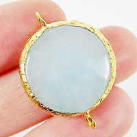 22mm Round Baby Blue Jade Connector - Gold plated Bezel  - 1 PC