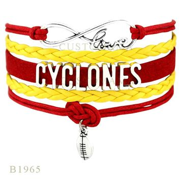 Custom- Infinity Love Cyclones Mustangs Raiders Charms Bracelets For Women Men Jewelry Gifts Red Yellow Leather Bracelets