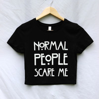 Normal People Scare Me Black Graphic Crop Top