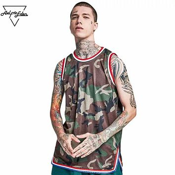 Men Camouflage Breathable Vest Casual O-neck Sleeveless T Shirt Fitness Cotton Tops Tee