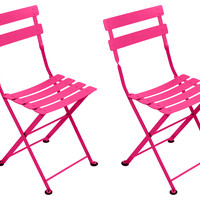 Fuchsia Tom Pouce Kids Chair, Pair, Outdoor Bistro Chairs
