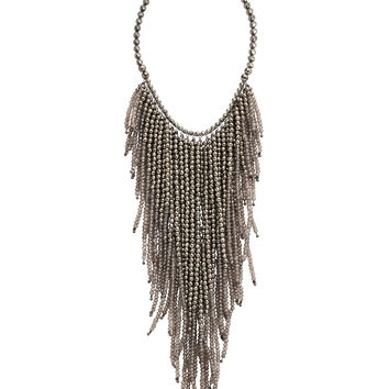 Brunello Cucinelli Pyrite Multistrand Fringe Necklace
