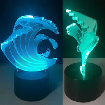 3D Illusion Night Light  LED Light 7 Color with Touch Switch USB Cable Nice Gift Home Office Decorations,Surf