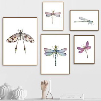 Colorful Dragonfly Wall Art Canvas Painting Nordic Posters And Prints Animals Wall Pictures For Living Room Kids Room Wall Decor