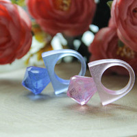 Diamond Resin Ring, Pink and Blue Diamond Resin Ring, Transparent Resin Ring, Fashion Stackable Resin Ring, Resin Statement Ring