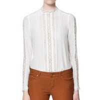 SILK LACE BLOUSE - Tops - Woman - ZARA United States