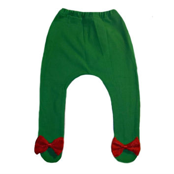 Baby Girl Green Christmas Tights with Beautiful Red Lace Bow