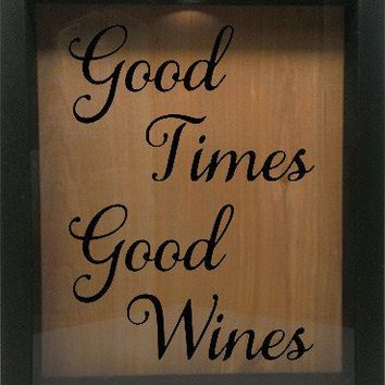 "Wooden Shadow Box Wine Cork/Bottle Cap Holder 9""x11"" - Good Times, Good Wine"