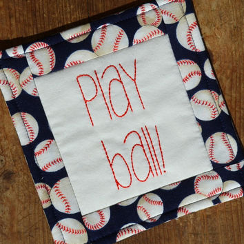 Play Ball Coaster - Mug Rug - Baseball Fan - Fathers Day - Dad Gift - Man Cave - Beer Mat - Hand Stitched - Needlework - Red Blue - SCOFG