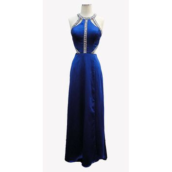 Cut Out Halter Bodice A-line Long Prom Dress Royal Blue with Pockets