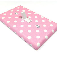 Pink and White Polka Dot Light Switch Cover by ModernSwitch