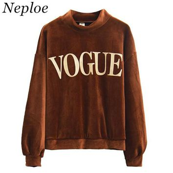 Neploe VOGUE Sweatshirt Pleuche Hoodies Women Letter Print Causal Tops Loose Half Turtleneck Pullover Autumn Sweatshirts 34160