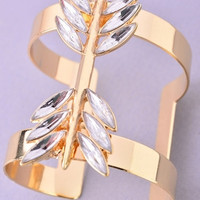 Crystal Leaf Wide Cuff Bracelet - Gold