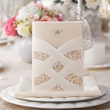 50pcs FREE SHIPPING One design only White/Red Vine Vintage Flower Wedding Invitation Card Cover Only,NO inner insert,NO envelope