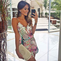 Stylish Fashion Print Spaghetti Strap One Piece Dress = 5826257537