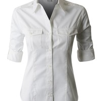 PREMIUM Easy Care Roll Up Sleeve Twill Button Down Shirt