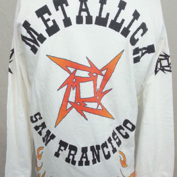 Vintage Metallica White Long Sleeve 20 Years San Francisco Made in LA Shirt L