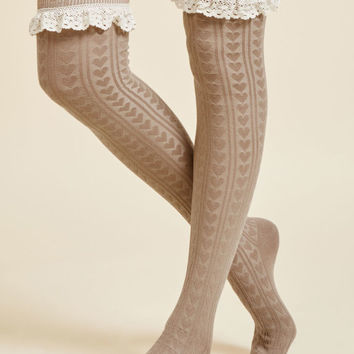 Haute at Heart Thigh Highs in Tan