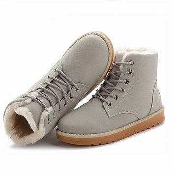 NEW Women Boots Warm Winter Snow Boots Suede Ankle Boots Thick Plush Inside Waterproof Snow Boots Chaussure Femme