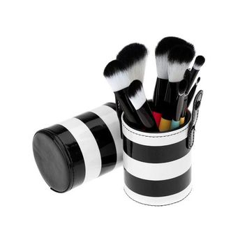 DCK9M2 JFYB-10pcs Professional Colorful Makeup Brush Set Cosmetic Brush Kit Makeup Tool with Cup Leather Holder Case (White + Black)