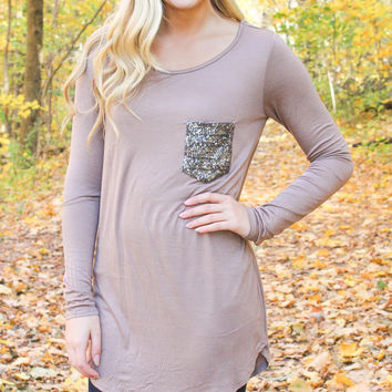 Mocha Tunic with Sequined Pocket
