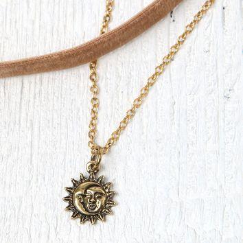 LA Hearts Tan Velvet Sun Choker Set - Womens Jewelry - Brown - One