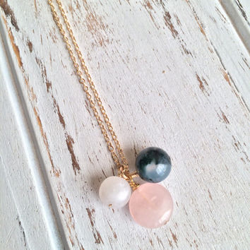 Love & Inner Strength ~ Beautiful Handmade Gold Filled Wire Wrapped Moonstone, Moss Agate and Rose Quartz Necklace ~ 14k Gold upon Request