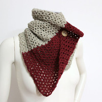 Oatmeal Crochet Cowl, Colour Block Scarf, Neutral Cowl, Buttoned Scarf, Two Tone Cowl, Crochet Wool Cowl, Tan Cowl, Two Tone Wool Scarf