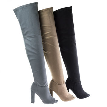 Morris58 Taupe By Wild Diva, Peep Toe Over Knee Thigh High Suede Boots On Chunky Block Heel