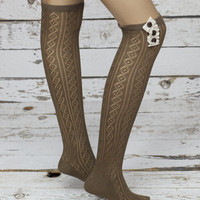 Button  white  lace top sweet  thigh high socks Knee high socks- socks women knee  Socks  -socks